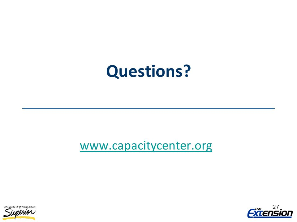 Questions? www.capacitycenter.org 27