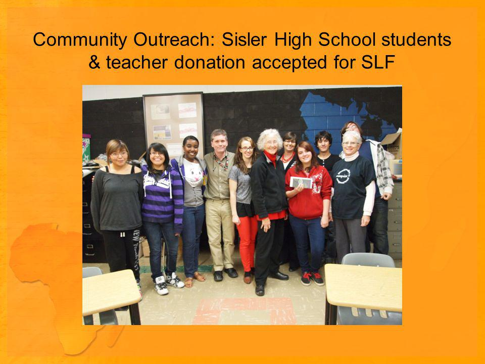 Community Outreach: Sisler High School students & teacher donation accepted for SLF