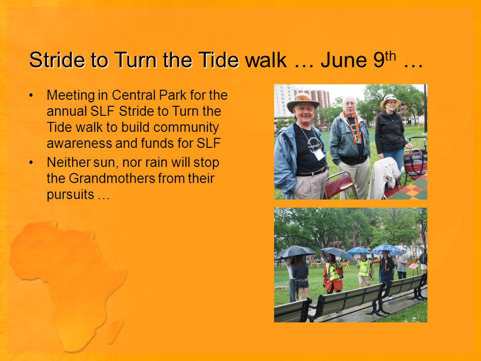 Stride to Turn the Tide Stride to Turn the Tide walk … June 9 th … Meeting in Central Park for the annual SLF Stride to Turn the Tide walk to build community awareness and funds for SLF Neither sun, nor rain will stop the Grandmothers from their pursuits …