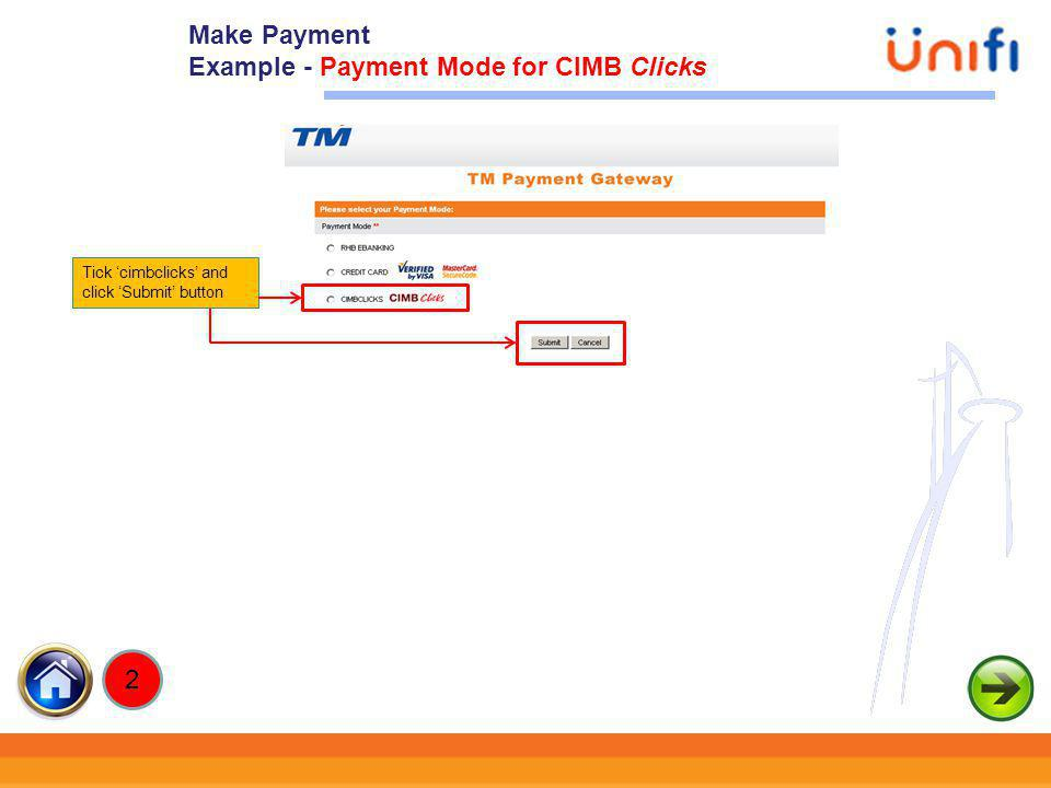 25 Tick cimbclicks and click Submit button Make Payment Example - Payment Mode for CIMB Clicks 2