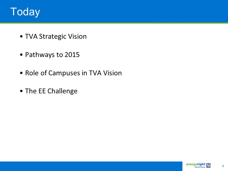 2 Today TVA Strategic Vision Pathways to 2015 Role of Campuses in TVA Vision The EE Challenge