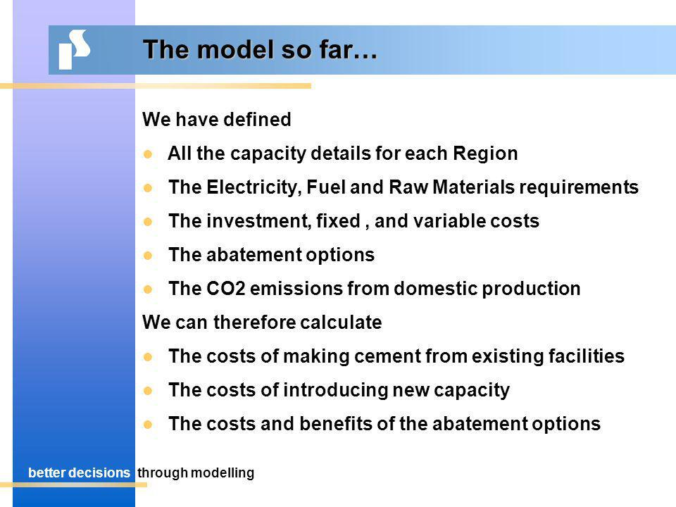 better decisionsthrough modelling The model so far… We have defined All the capacity details for each Region The Electricity, Fuel and Raw Materials requirements The investment, fixed, and variable costs The abatement options The CO2 emissions from domestic production We can therefore calculate The costs of making cement from existing facilities The costs of introducing new capacity The costs and benefits of the abatement options