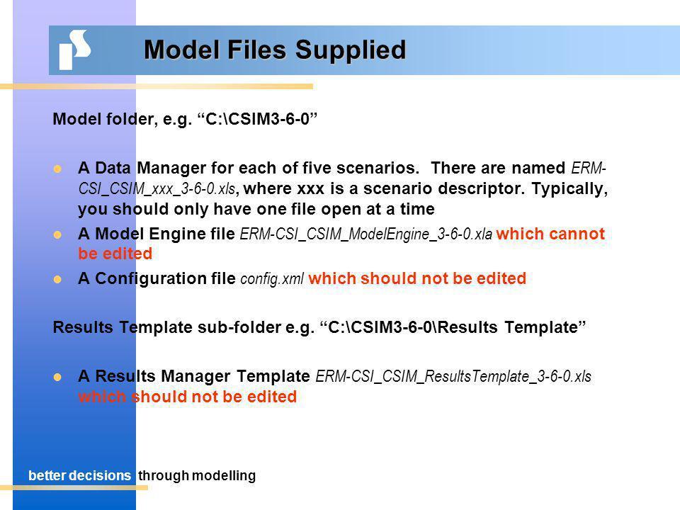 better decisionsthrough modelling Model Files Supplied Model folder, e.g.