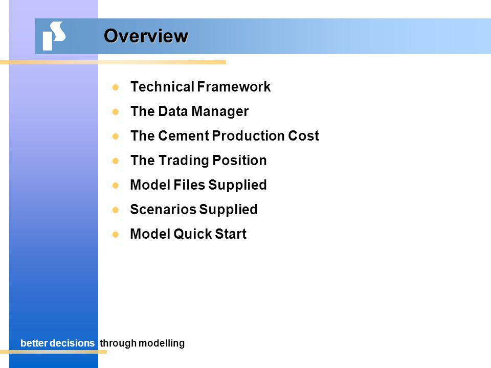 better decisionsthrough modelling Overview Technical Framework The Data Manager The Cement Production Cost The Trading Position Model Files Supplied Scenarios Supplied Model Quick Start