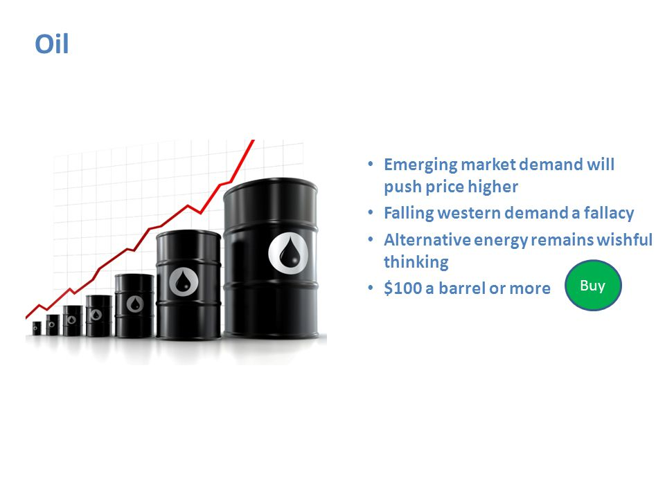 Oil Emerging market demand will push price higher Falling western demand a fallacy Alternative energy remains wishful thinking $100 a barrel or more Buy