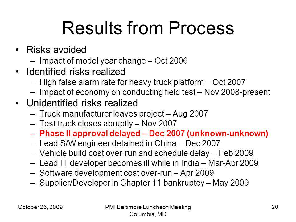 October 26, 2009PMI Baltimore Luncheon Meeting Columbia, MD 20 Results from Process Risks avoided –Impact of model year change – Oct 2006 Identified r