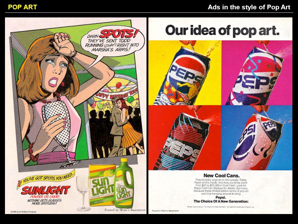 POP ARTAds in the style of Pop Art