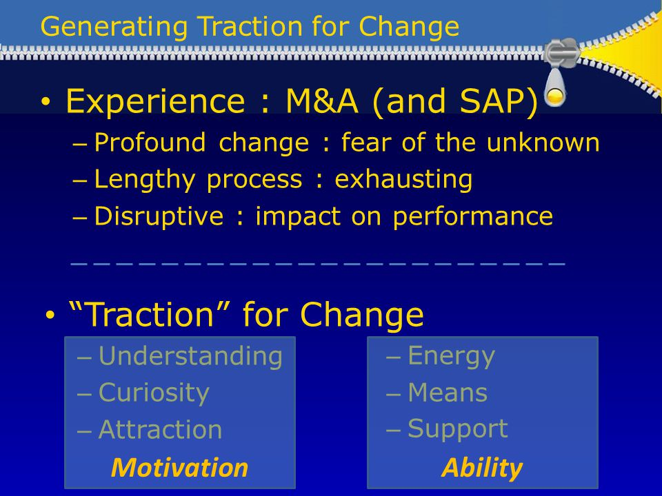 Generating Traction for Change Experience : M&A (and SAP) – Profound change : fear of the unknown – Lengthy process : exhausting – Disruptive : impact on performance Traction for Change – Understanding – Curiosity – Attraction – Energy – Means – Support MotivationAbility