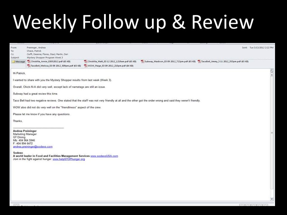 Weekly Follow up & Review