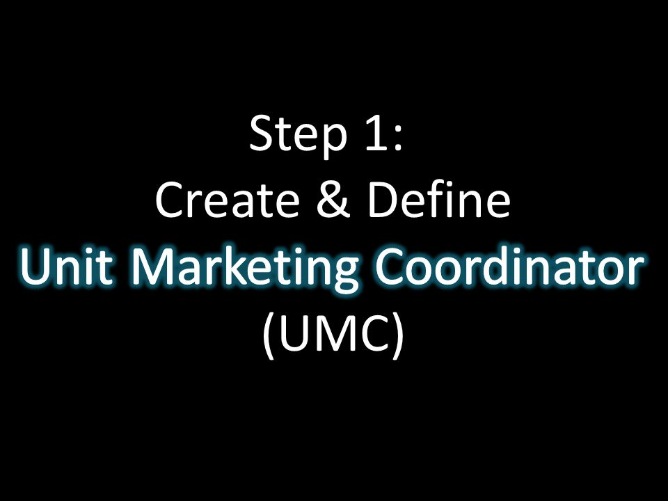 Step 1: Create & Define Unit Marketing Coordinator (UMC)