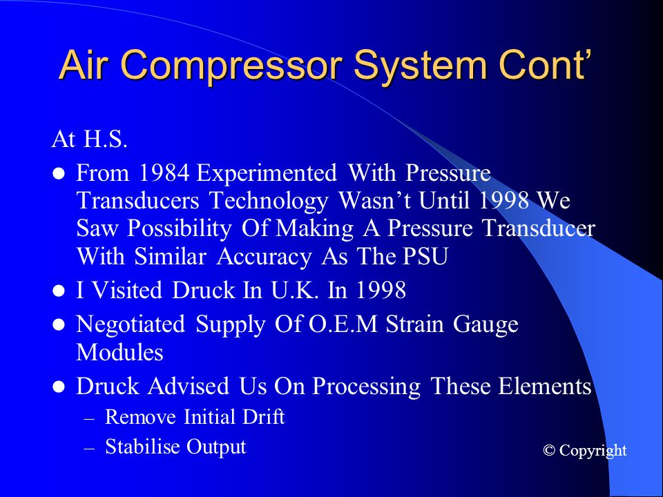 Air Compressor System Cont At H.S.