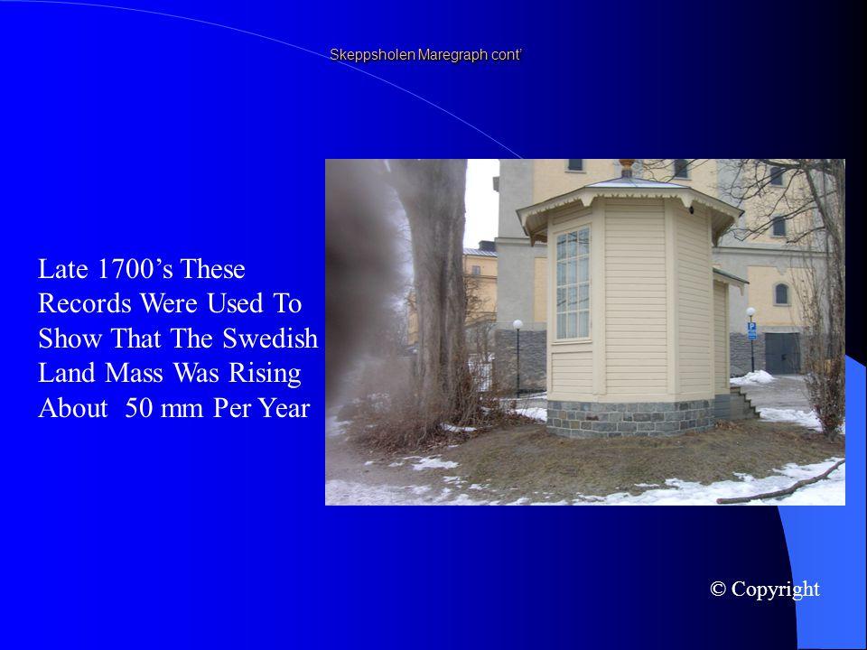 Skeppsholen Maregraph cont In 1765 Mr Celsius Commenced Air Temperature Measurements At This Site © Copyright