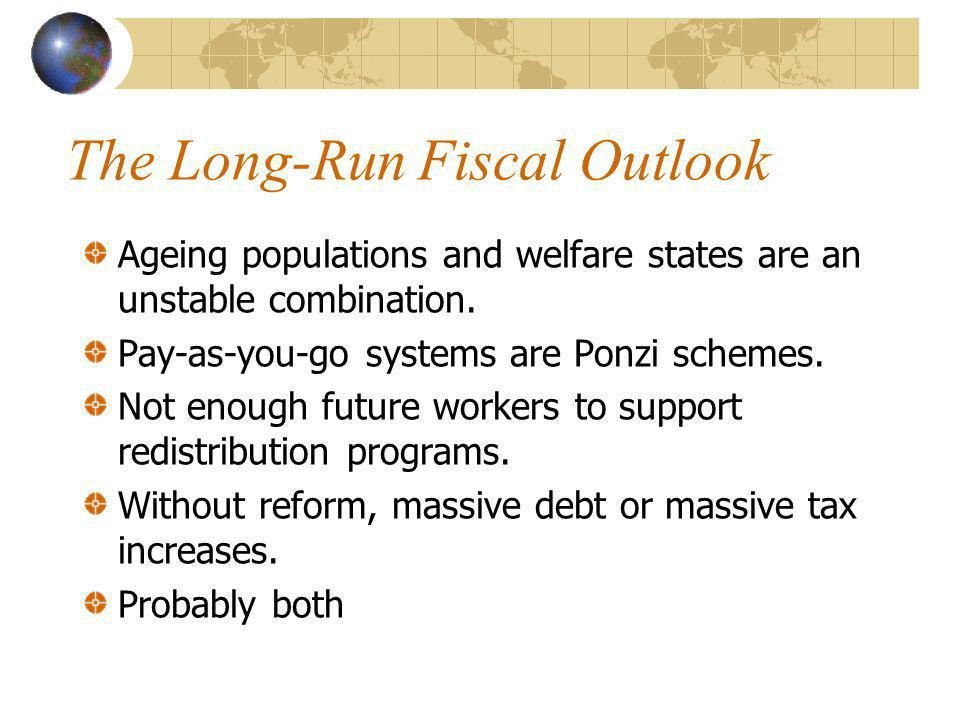 The Long-Run Fiscal Outlook Ageing populations and welfare states are an unstable combination.