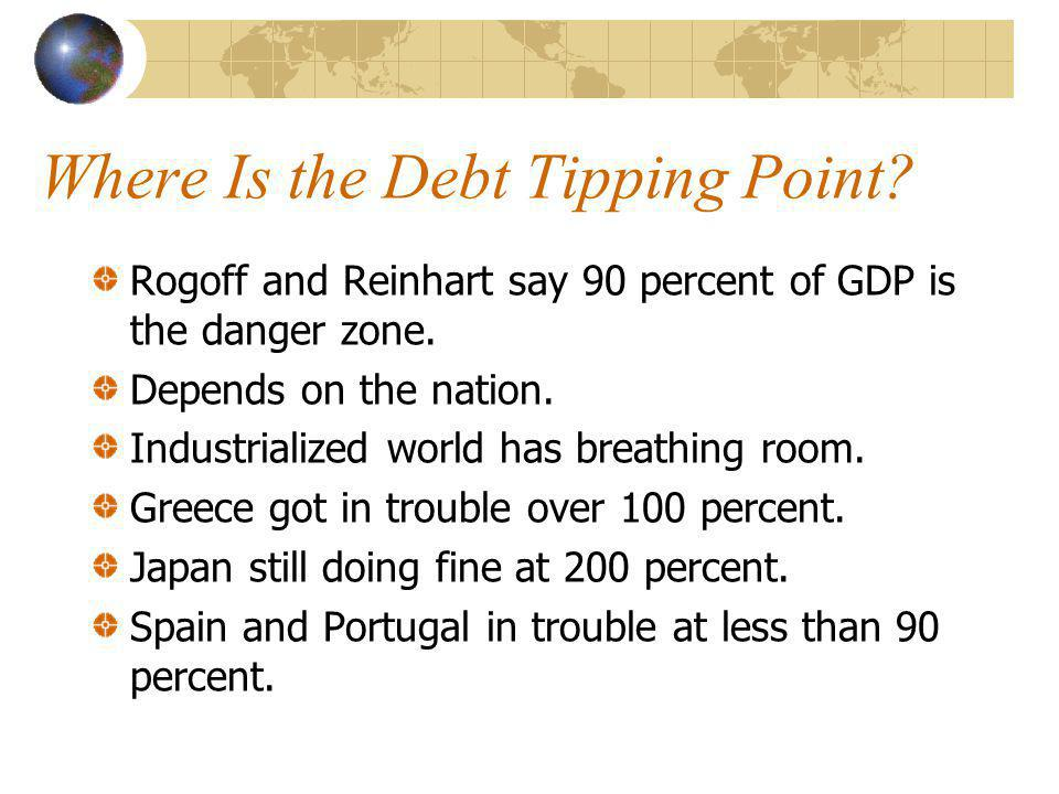 Where Is the Debt Tipping Point. Rogoff and Reinhart say 90 percent of GDP is the danger zone.