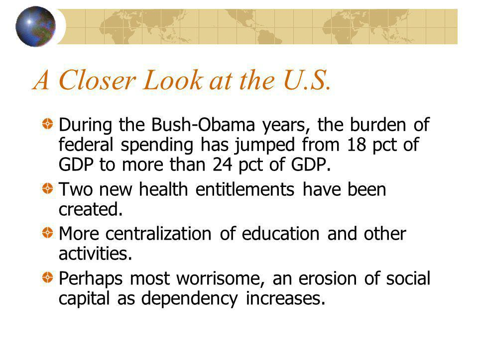 A Closer Look at the U.S. During the Bush-Obama years, the burden of federal spending has jumped from 18 pct of GDP to more than 24 pct of GDP. Two ne