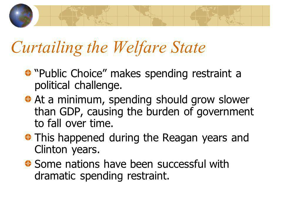 Curtailing the Welfare State Public Choice makes spending restraint a political challenge.