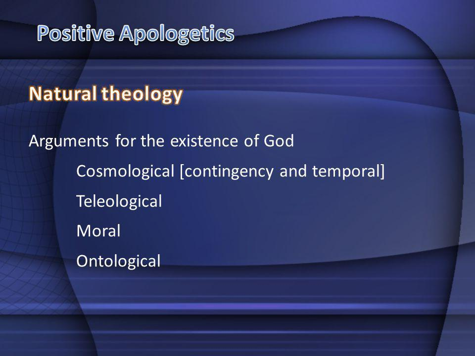 Arguments for the existence of God Cosmological [contingency and temporal] Teleological Moral Ontological