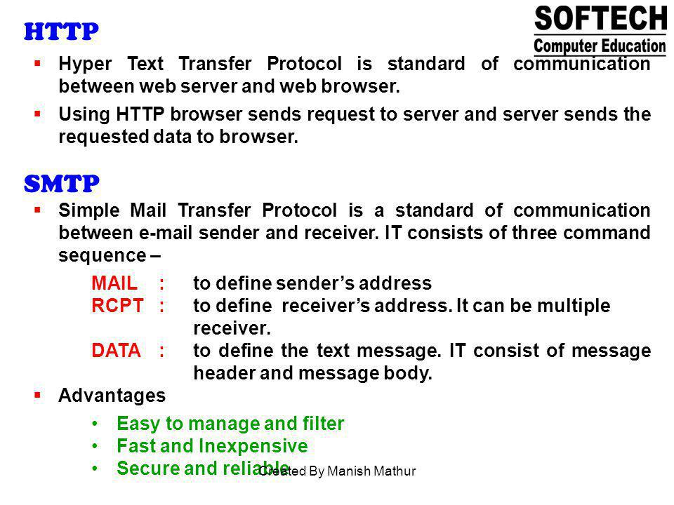 HTTP Hyper Text Transfer Protocol is standard of communication between web server and web browser. Using HTTP browser sends request to server and serv