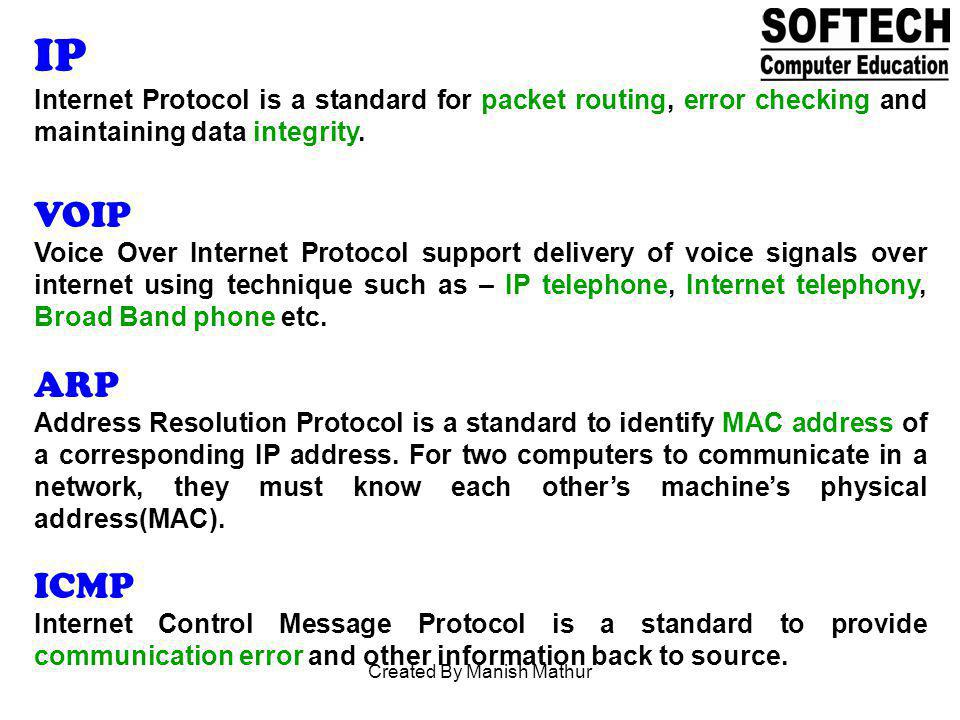 IP Internet Protocol is a standard for packet routing, error checking and maintaining data integrity. VOIP Voice Over Internet Protocol support delive