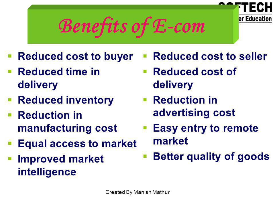 Benefits of E-com Reduced cost to buyer Reduced time in delivery Reduced inventory Reduction in manufacturing cost Equal access to market Improved mar