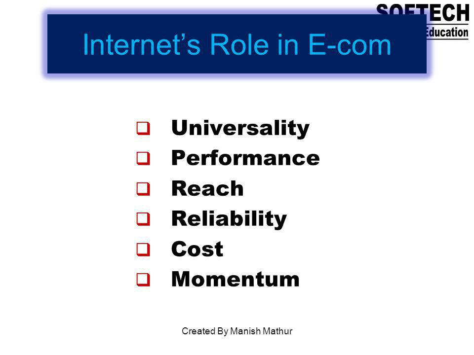 Internets Role in E-com Universality Performance Reach Reliability Cost Momentum Created By Manish Mathur