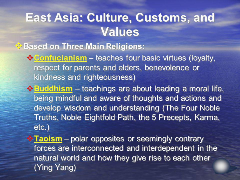 East Asia: Culture, Customs, and Values Based on Three Main Religions: Confucianism – teaches four basic virtues (loyalty, respect for parents and elders, benevolence or kindness and righteousness) Buddhism – teachings are about leading a moral life, being mindful and aware of thoughts and actions and develop wisdom and understanding (The Four Noble Truths, Noble Eightfold Path, the 5 Precepts, Karma, etc.) Taoism – polar opposites or seemingly contrary forces are interconnected and interdependent in the natural world and how they give rise to each other (Ying Yang) Based on Three Main Religions: Confucianism – teaches four basic virtues (loyalty, respect for parents and elders, benevolence or kindness and righteousness) Buddhism – teachings are about leading a moral life, being mindful and aware of thoughts and actions and develop wisdom and understanding (The Four Noble Truths, Noble Eightfold Path, the 5 Precepts, Karma, etc.) Taoism – polar opposites or seemingly contrary forces are interconnected and interdependent in the natural world and how they give rise to each other (Ying Yang)