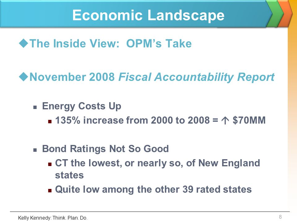 Economic Landscape The Inside View: OPMs Take November 2008 Fiscal Accountability Report Energy Costs Up 135% increase from 2000 to 2008 = $70MM Bond