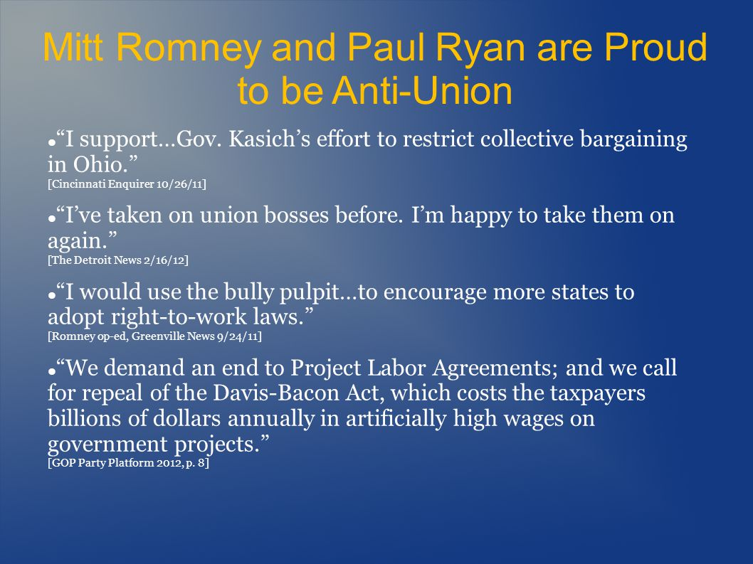 And we Know the Romney/Ryan Team Will: Raise taxes on the middle class by $2,000 to pay for an average $187,000 in annual tax cuts for millionaires [Paul Ryans hidden middle-class tax hike, Michael Linden, Center for American Progress, 4/5/11] End Medicare, costing families thousands of dollars in additional premiums while lowering the quality of care [Ryans budget would undermine economic security for millions, Economic Policy Institute, 4/7/11] Create 800,000 jobs overseas by giving private companies tax breaks to outsource [Romneys Bain Capital invested in companies that moved jobs overseas, The Washington Post, 6/21/12] Cost the economy 4.1 million jobs in the next three years under their so-called economic plan [Ryans budget cuts would cost jobs, Ethan Pollack, EPI.org, 3/21/12]