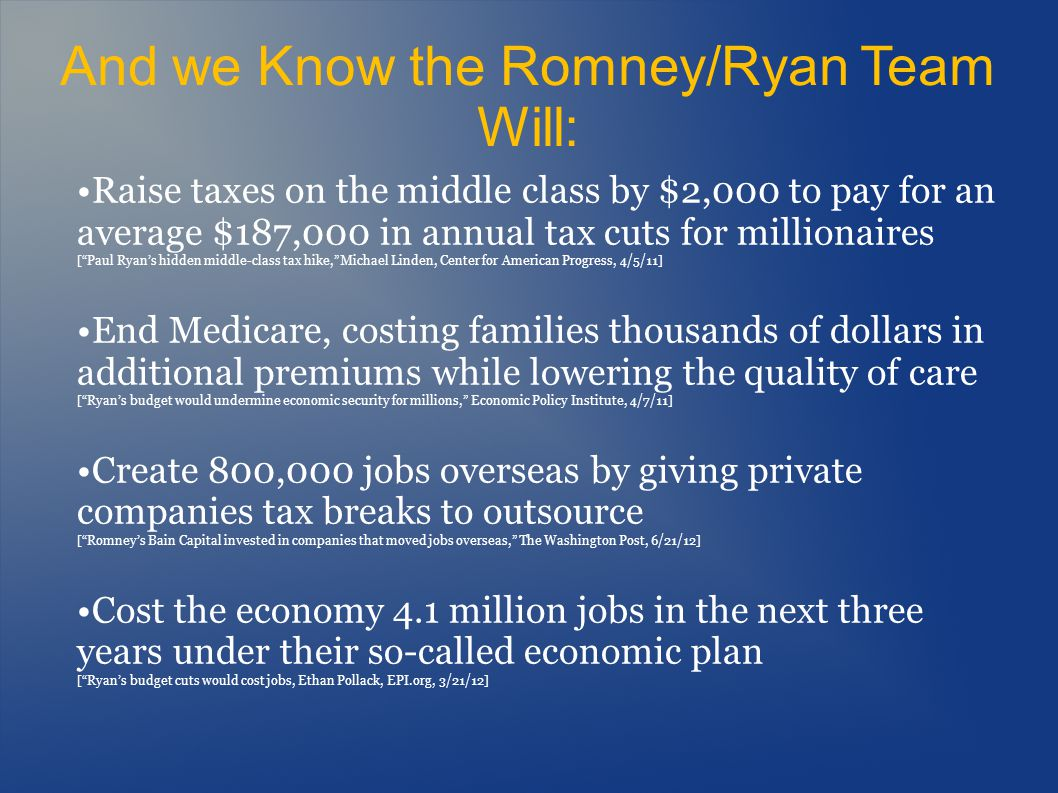 What Romney/Ryan Would Do Eliminate and privatize Amtrak [Mittromney.com/blogs, 9/29/11] Raise retirement age for workers under the Railroad Retirement system and kill their occupational disability [Ryan Budget House Report 112-421, p.