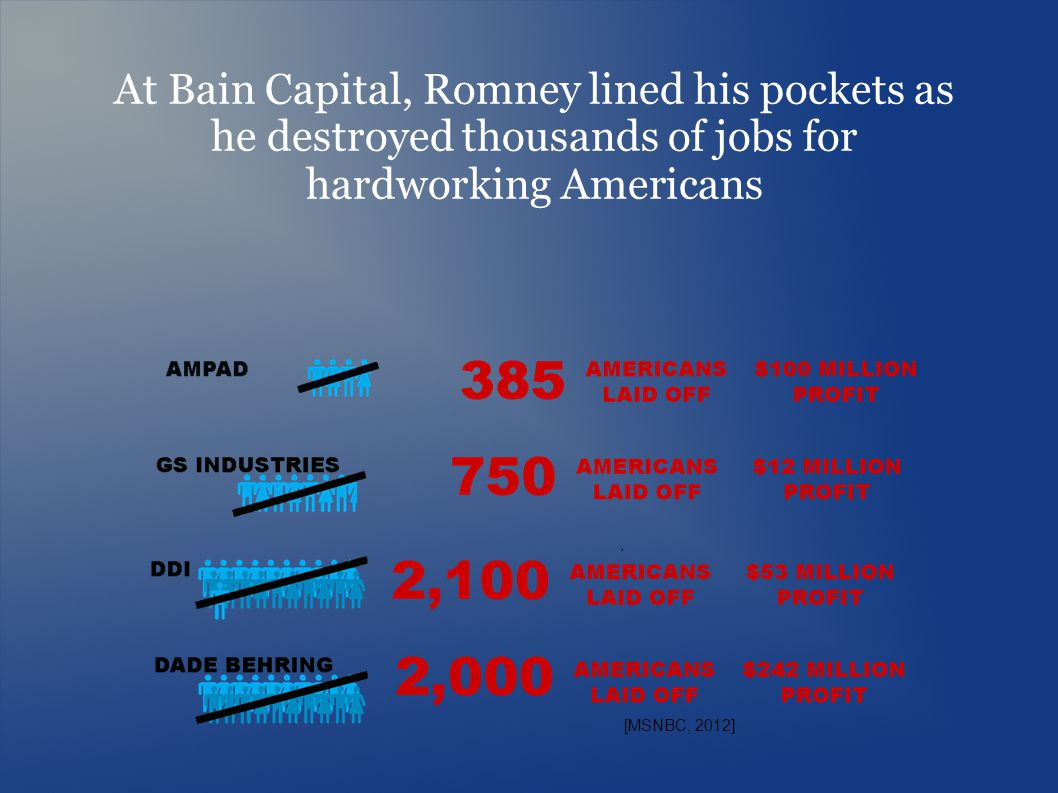 [MSNBC, 2012] At Bain Capital, Romney lined his pockets as he destroyed thousands of jobs for hardworking Americans