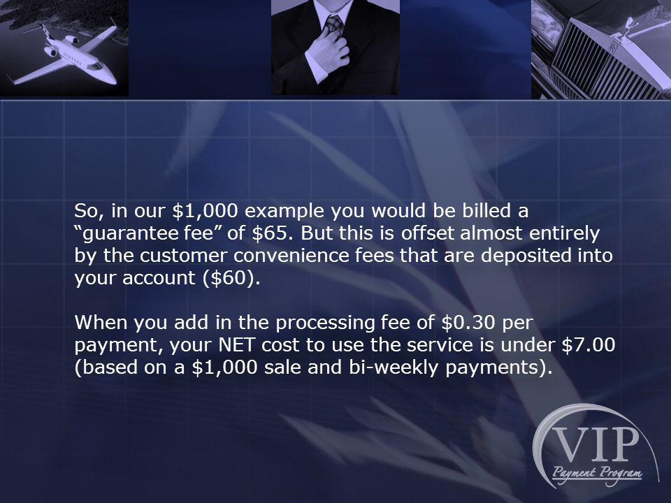 So, in our $1,000 example you would be billed a guarantee fee of $65.