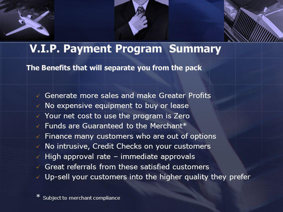 Generate more sales and make Greater Profits No expensive equipment to buy or lease Your net cost to use the program is Zero Funds are Guaranteed to t
