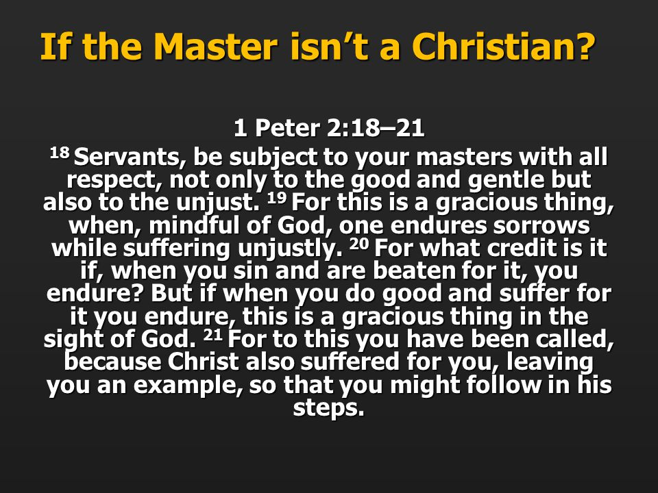 If the Master isnt a Christian.