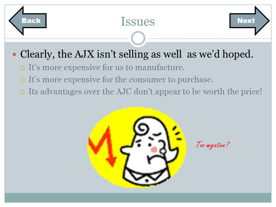Issues Clearly, the AJX isnt selling as well as wed hoped. Its more expensive for us to manufacture. Its more expensive for the consumer to purchase.