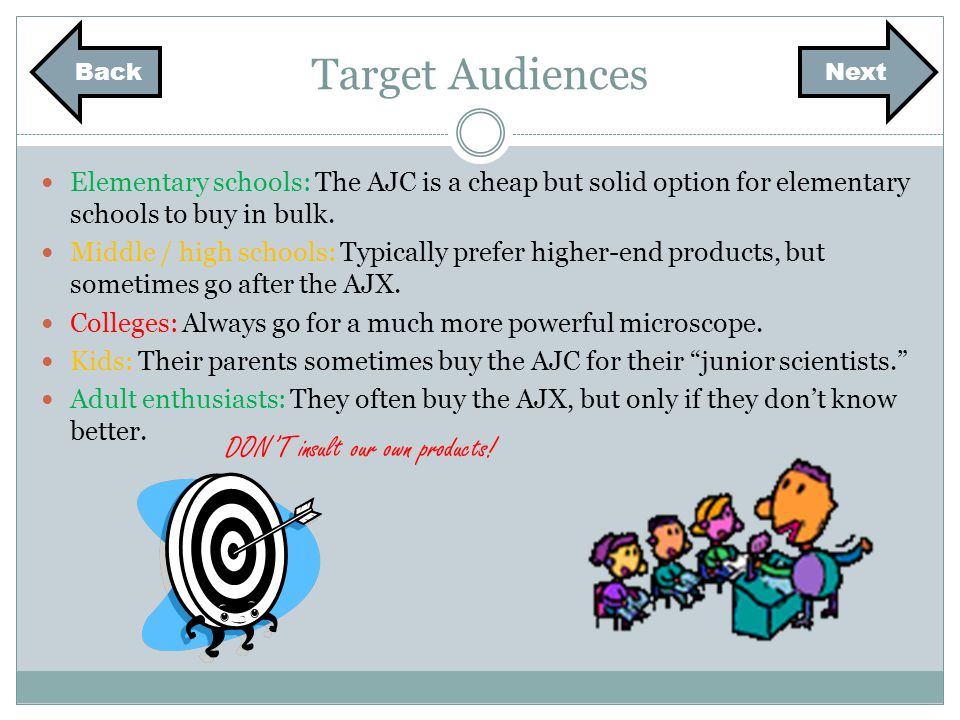 Target Audiences Elementary schools: The AJC is a cheap but solid option for elementary schools to buy in bulk.