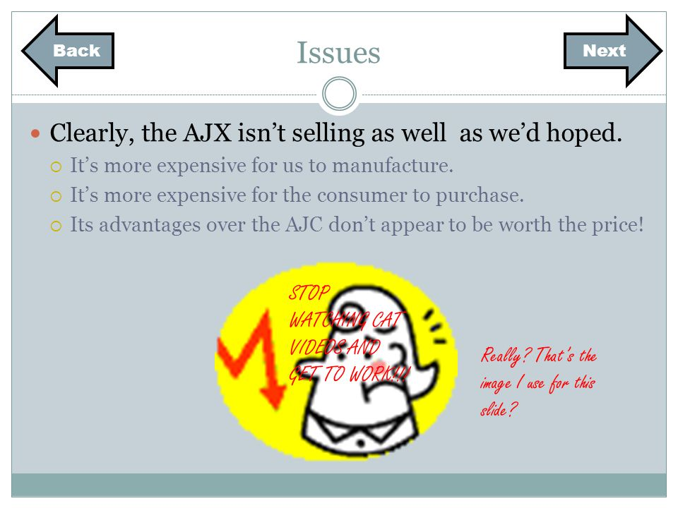 Next Issues Clearly, the AJX isnt selling as well as wed hoped.