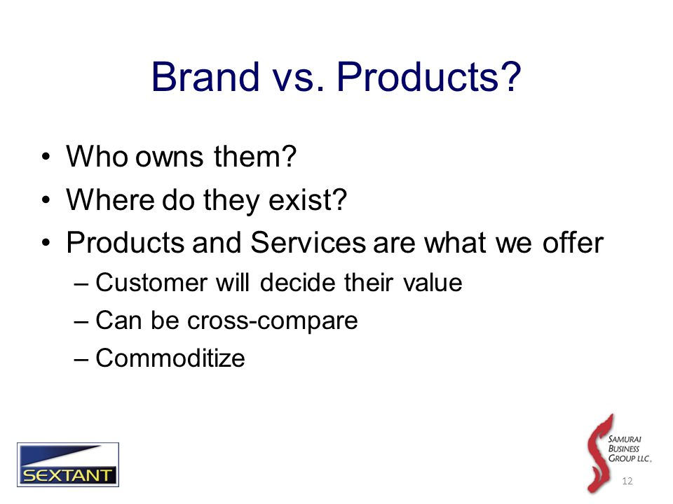 Brand vs. Products. Who owns them. Where do they exist.