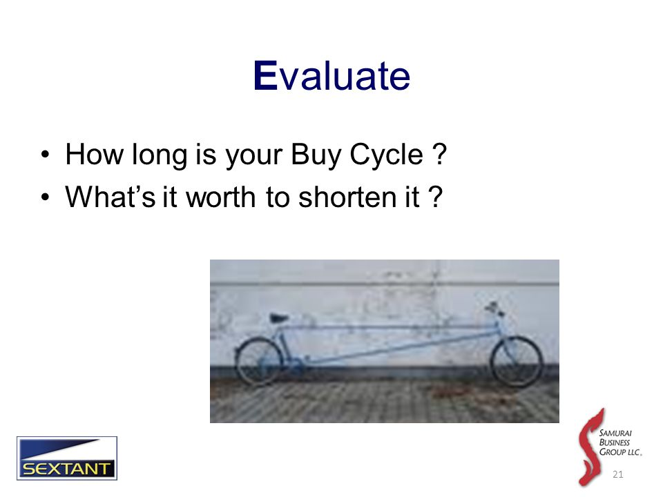 Evaluate How long is your Buy Cycle Whats it worth to shorten it 21