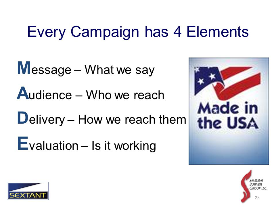 Every Campaign has 4 Elements M essage – What we say A udience – Who we reach D elivery – How we reach them E valuation – Is it working 23