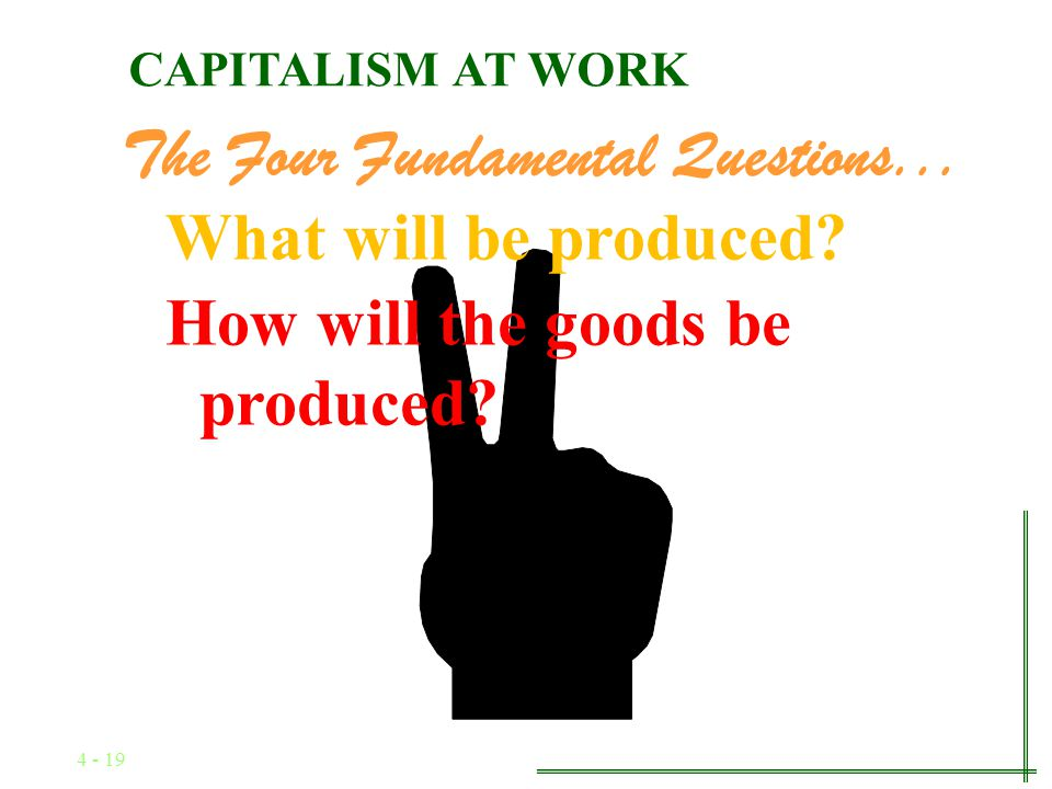4 - 18 The Four Fundamental Questions... What will be produced CAPITALISM AT WORK