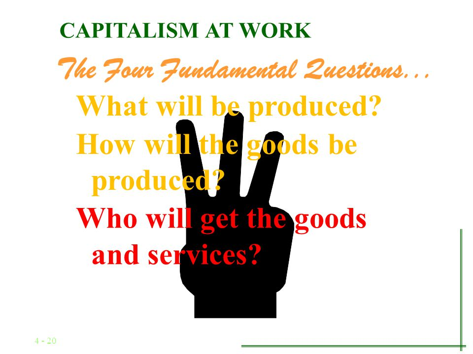 4 - 19 The Four Fundamental Questions... How will the goods be produced.