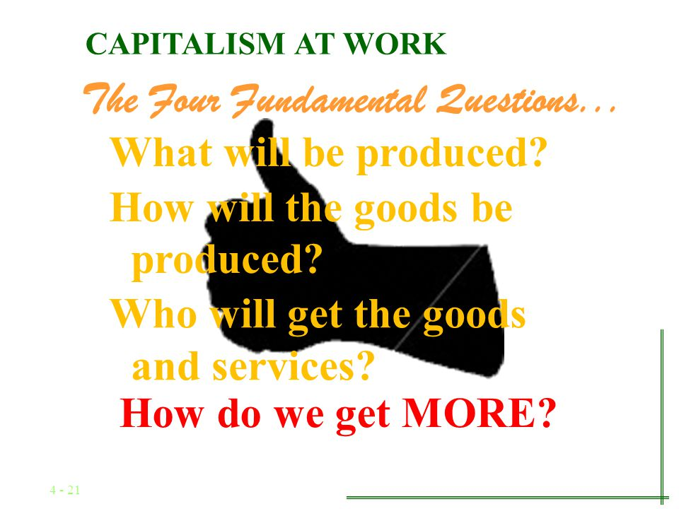 4 - 20 The Four Fundamental Questions... How will the goods be produced? What will be produced? Who will get the goods and services? CAPITALISM AT WOR