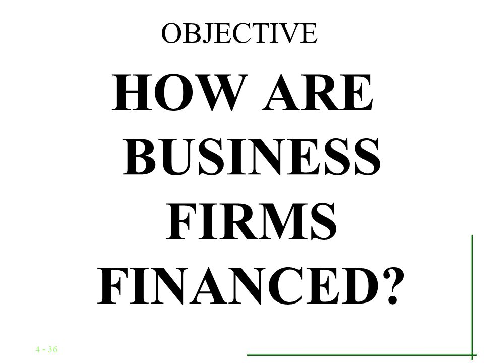 4 - 35 Types of Business Firms Corporation: A fictitious legal person separate and distinct from its owners Advantages –Limited liability –Unlimited l