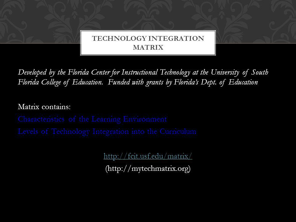 Developed by the Florida Center for Instructional Technology at the University of South Florida College of Education.