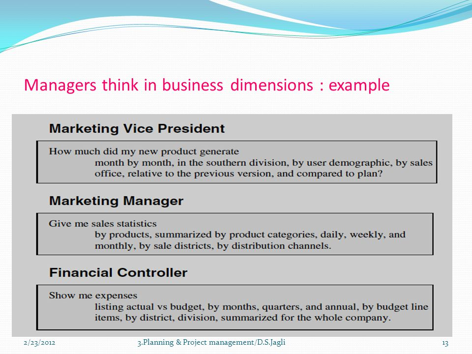 Managers think in business dimensions : example 133.Planning & Project management/D.S.Jagli2/23/2012