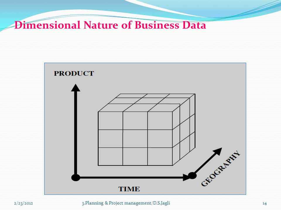 Dimensional Nature of Business Data 143.Planning & Project management/D.S.Jagli2/23/2012