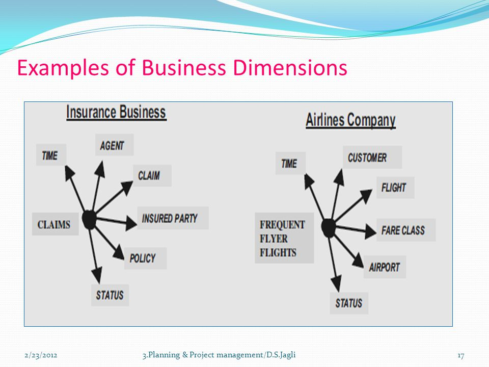 Examples of Business Dimensions 173.Planning & Project management/D.S.Jagli2/23/2012