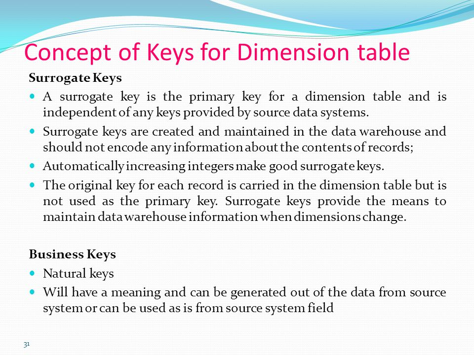 31 Concept of Keys for Dimension table Surrogate Keys A surrogate key is the primary key for a dimension table and is independent of any keys provided by source data systems.