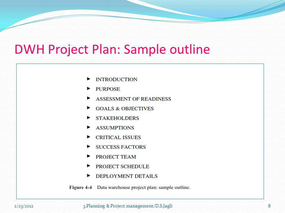 DWH Project Plan: Sample outline 83.Planning & Project management/D.S.Jagli2/23/2012