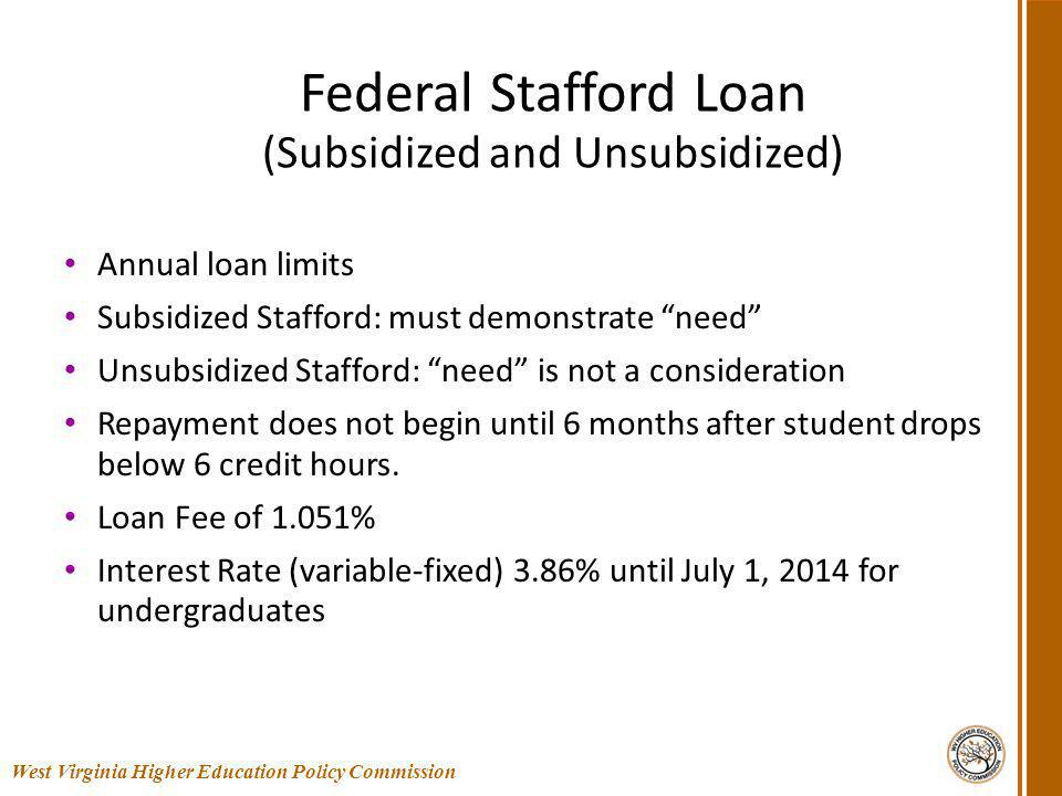 Federal Stafford Loan (Subsidized and Unsubsidized) Annual loan limits Subsidized Stafford: must demonstrate need Unsubsidized Stafford: need is not a consideration Repayment does not begin until 6 months after student drops below 6 credit hours.